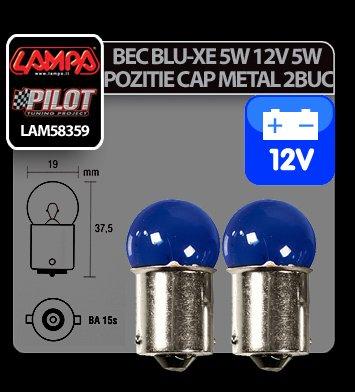 Bec Blu-Xe 5W 12V pozitie cap metal BA15s 2buc