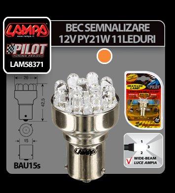 Bec Multi-Led 11Led 12V Semnalizare PY21W - BAU15s Asim.- Galben