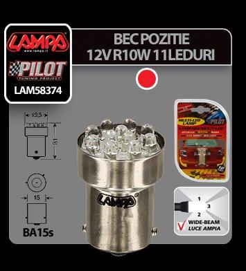 Bec Multi-Led 11Led 12V Pozitie - R10W - BA15s - Rosu