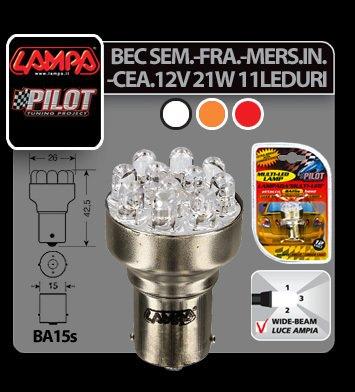 Bec Multi-Led 11Led 12V Frana, Ceata - P21W - BA15s - Rosu