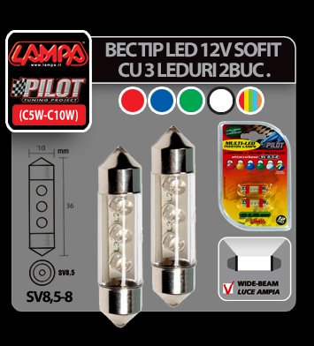 Bec tip LED 12V sofit cu 3 leduri 10x31 mm SV8,5-8 2buc - Multi
