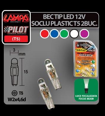 Bec tip LED 12V soclu plastic T5 W2x4,6d 2buc - Rosu