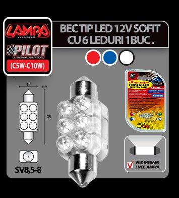 Bec tip LED 12V sofit cu 6 leduri 13x35 mm SV8,5-8 1buc - Albast
