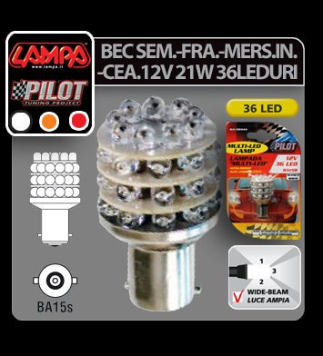 Bec Multi-Led 36Led 12V Semnalizare - P21W BA15s - Galben