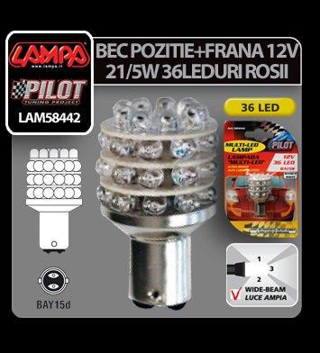 Bec Multi-Led 36Led 12V Pozitie+Frana - P21/5W BAY15d - Rosu