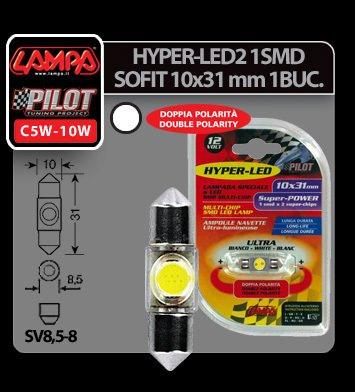 Bec Hyper-Led2 - 1SMD 12V sofit 10x31mm soclu SV8,5-8 1buc - Alb