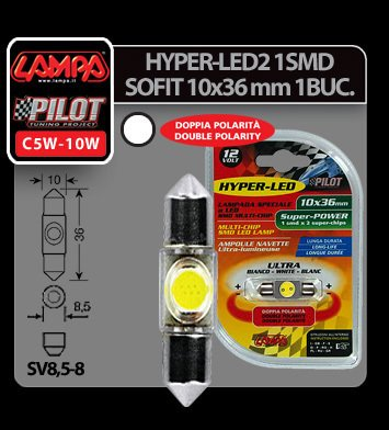 Bec Hyper-Led2 - 1SMD 12V sofit 10x36mm soclu SV8,5-8 1buc - Alb