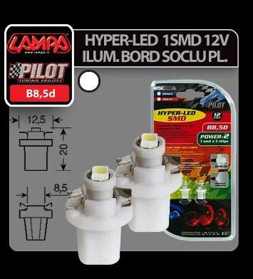 Bec Hyper-Led2 - 1SMD 12V ilum. bord soclu pl.B8,5d 2buc - Alb