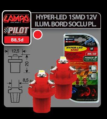 Bec Hyper-Led2 - 1SMD 12V ilum. bord soclu pl.B8,5d 2buc - Rosu