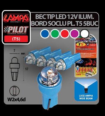 Bec tip LED 12V iluminat bord soclu pl. T5 W2x4,6d 5buc - Albast
