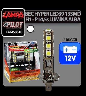 Bec Hyper-Led39 - 13SMD 12V H1 P14,5s 2buc - Alb