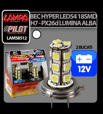 Bec Hyper-Led54 - 18SMD 12V H7 PX26d 2buc - Alb