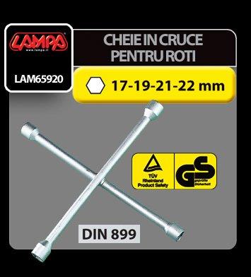 Cheie in cruce pentru desurubat prezoane roti 17-19-21-22 mm Lampa