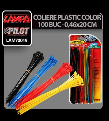 Coliere plastic color 100 buc - 0,46x20 cm