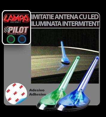 Imitatie antena iluminata intermitent cu LED - Verde