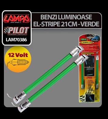 Benzi luminoase El-Stripe 2buc 12V 21cm - Verde