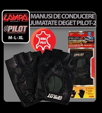 Manusi de conducere jumatate deget Pilot-2 - XL - Negru
