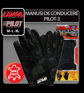 Manusi de conducere Pilot-3 - M - Negru