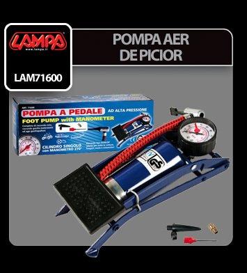 Pompa aer de picior cu un cilindru Lampa