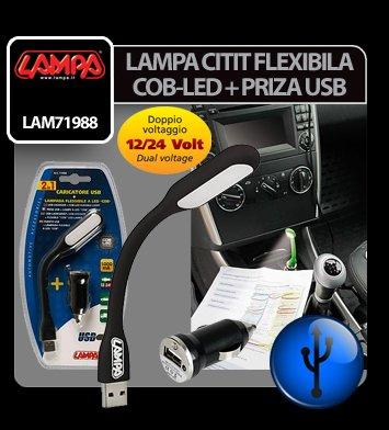 Lampa citit flexibila COB-LED si priza USB 12/24V