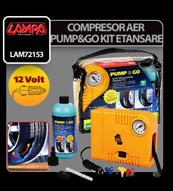 Compresor aer Pump&Go 12V si kit etansare pneuri