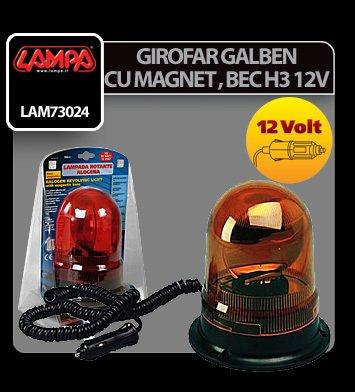 Girofar galben cu magnet, cu bec halogen H3 12V