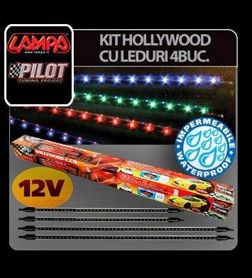 Kit neoane Hollywood cu LED sub masina 4 buc 12V - Rosu