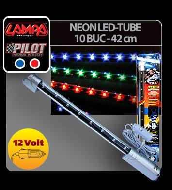 Neon Led-Tube 10 leduri - 42 cm 12V - Rosu
