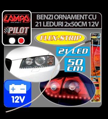 Benzi ornament cu leduri Flex-Strip 2x50 cm 12V - Alb