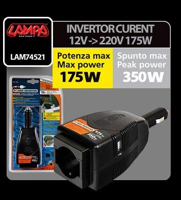 Invertor curent de la 12V la 220V 175W cu USB Lampa