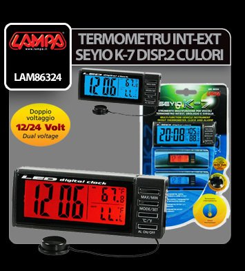 Termometru int-ext Seyio K-7 doua culori