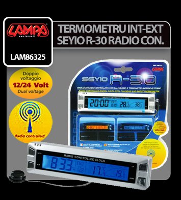 Termometru int-ext Seyio R-30 ceas radio control 12/24V