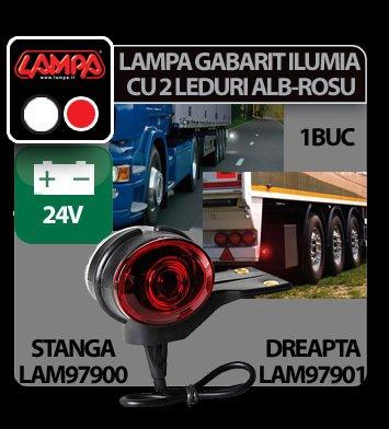 Lampa gabarit camion Ilumia cu 2 LED-uri 24V - Alb/Rosu - Dreapta
