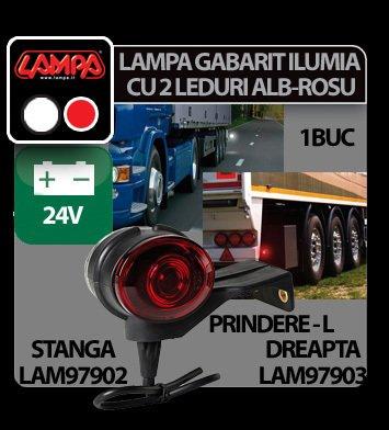 Lampa gabarit camion Ilumia cu prindere L - 2 LED-uri 24V - Alb/Rosu - Dreapta