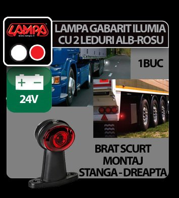 Lampa gabarit camion Ilumia cu brat scurt - cu 2 LED-uri 24V - Alb/Rosu