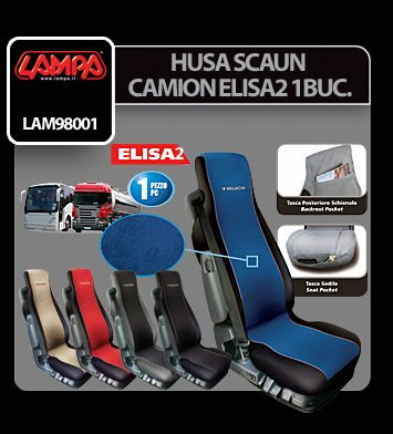 Husa scaun camion Elisa-2 poliester/imit. piele 1buc - Rosu/Negr
