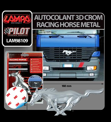 Autocolant 3D crom Racing Horse Metal