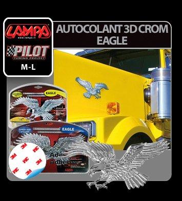 Autocolant 3D crom Eagle - M - 220mm
