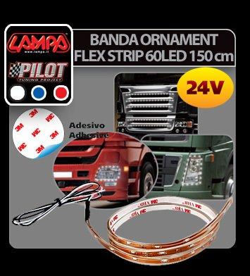 Banda ornament Flex Strip, 24V - 60 LED - 150 cm - Rosu