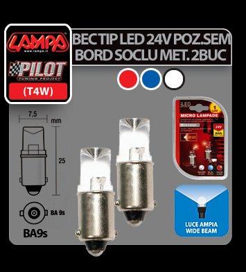 Bec tip LED 24V poz semn bord soclu metal T4W BA9s 2buc - Rosu