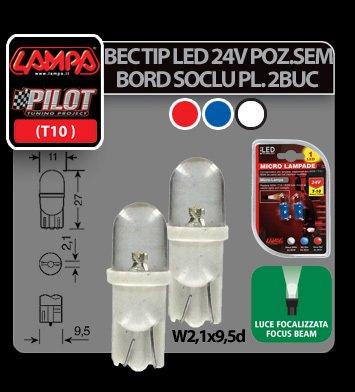 Bec tip LED 24V poz semn bord soclu pl W5W W2,1x9,5d 2buc- Albat