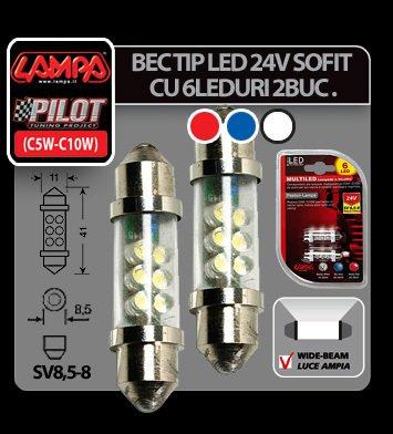 Bec tip LED 24V sofit cu 6 leduri 11x41 mm SV8,5-8 2buc - Rosu