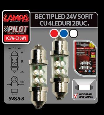 Bec tip LED 24V sofit cu 4 leduri 11x38 mm SV8,5-8 2buc - Alb