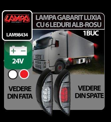 Lampa gabarit camion Luxia cu 6 LED-uri 24V - Alb/Rosu