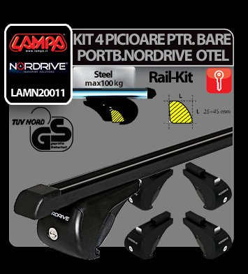 Kit 4 picioare pt. bare portbagaj otel Nordrive Rail-Kit Steel