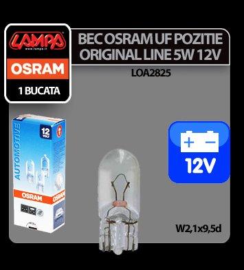 Bec Osram OL 5W 12V UF poz. cap sticla W2,1x9,5d 1buc