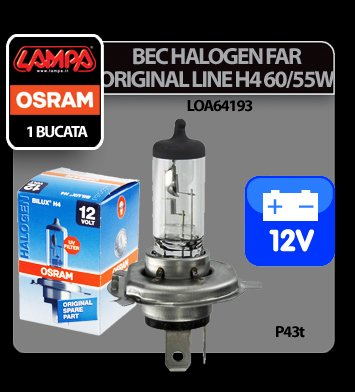 Bec Osram H4 60/55W P43t 12V Original Line 1buc