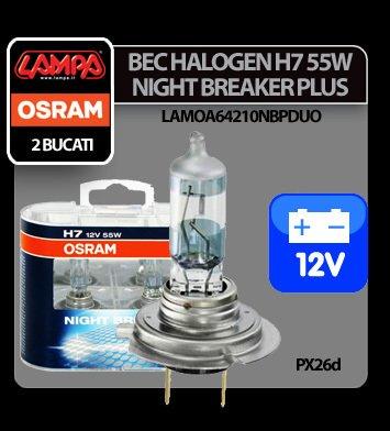 Bec Osram H7 55W PX26d 12V Night Breaker Unlimited 2buc