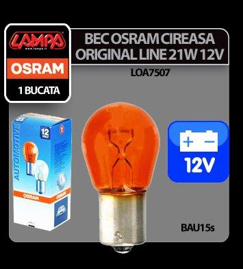 Bec Osram OL 21W 12V cireasa semn. galben BAU15s 1buc