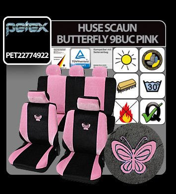 Huse scaun Eco Class Butterfly set 17buc - Pink